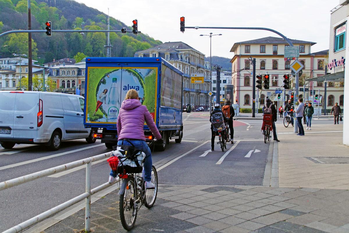 Geteilter Straßenraum in Heidelberg
