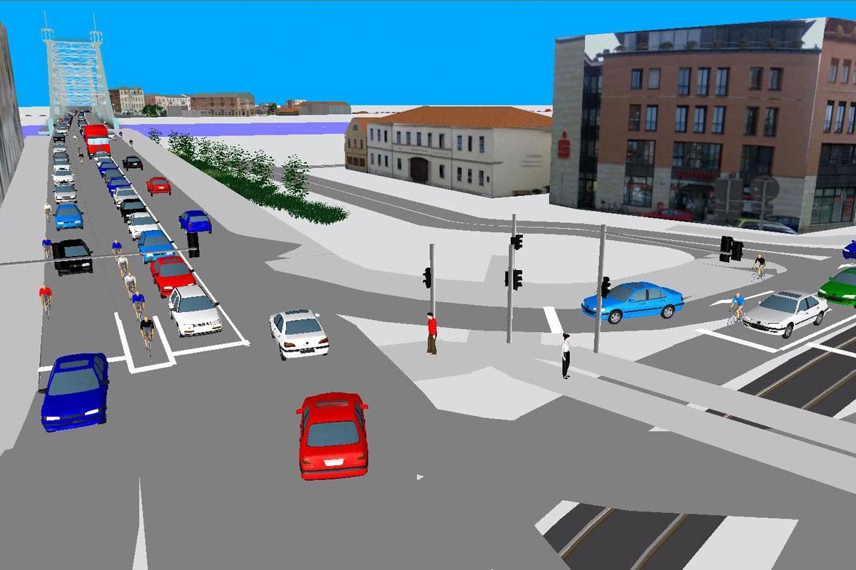 Verkehrsmodellierung / Verkehrssimulation – Übersicht Referenzen – Schillerplatz Dresden